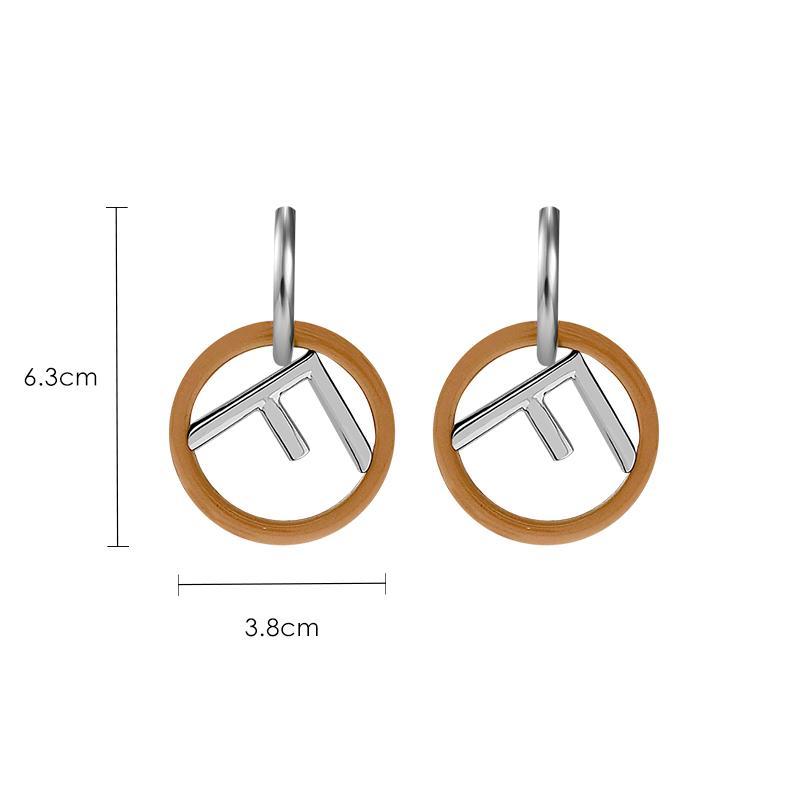 2018 moda europea americana temperamento femenino oído anillo F letra oro y plata color pendientes joyería J190628