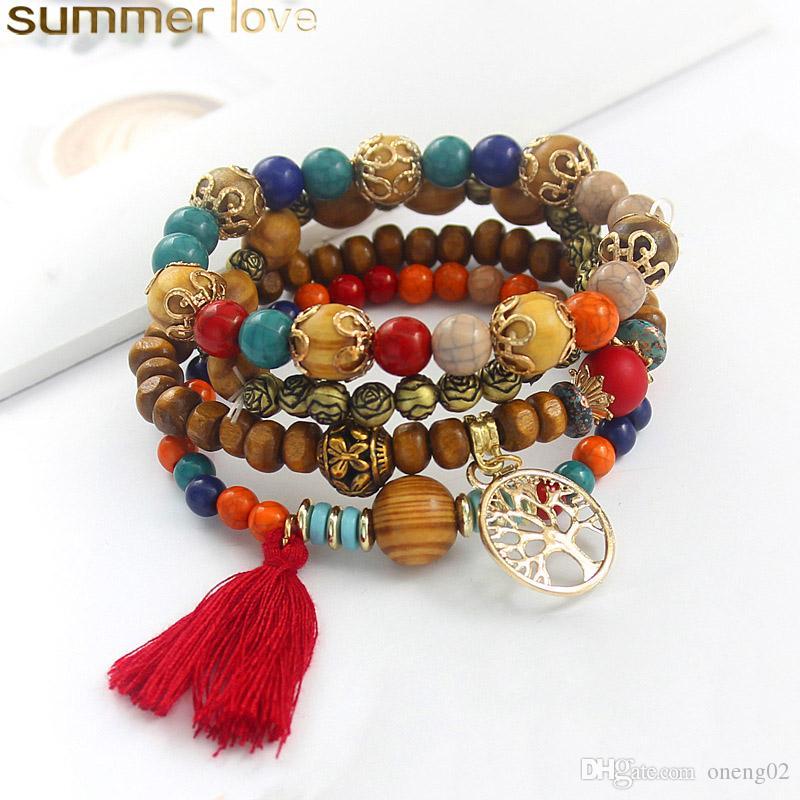 Bohemian Multilayer Natural Stone Crystal Beads Tassel Chain Women Bracelets Set