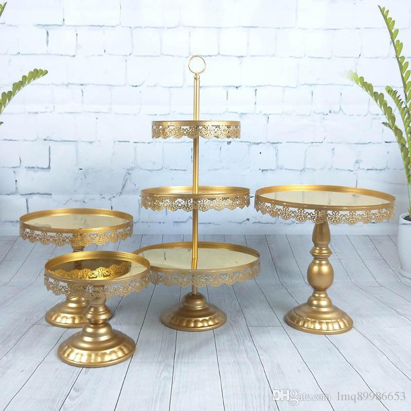 4pcs /set Beautiful Tray 3 tier Cupcake Dessert Display Decoration Tools Wedding Crystal Mirror Cake Stand Set