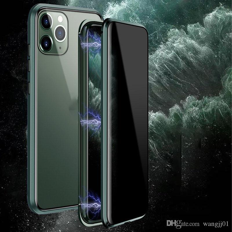 الهاتف المغناطيسي للحصول على حالة iPhone11pro 7 8 زائد X XR لسامسونج note9 S10 حالة مغناطيس شفافة مكافحة احت خيوط من فضة الزجاج المقسى Protecter حالة
