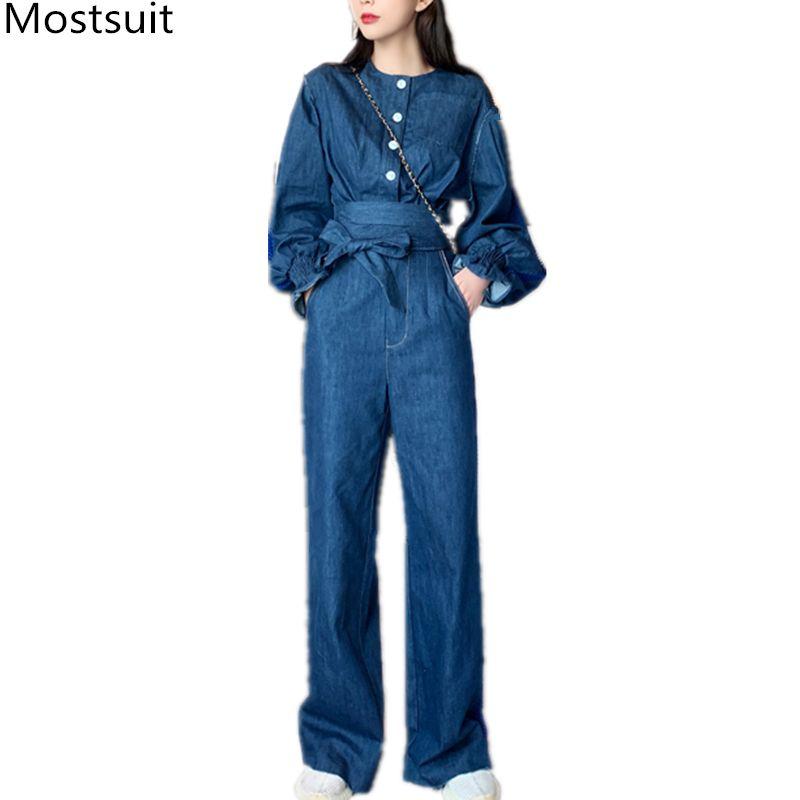 Blue Women Denim 3 Piece Sets Outfits Short Tops + Skirt + Wide Leg Pants Suits Sexy Vintage Fashion Korean 3 Pcs Sets 2020