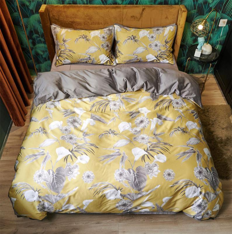 Trend пастырского комплект постельных принадлежностей, полный ферзь король 60s хлопка желтого серый цвет двойной домашний текстиль простынь наволочка пододеяльник