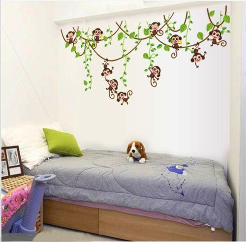 أفضل بيع الحيوانات غرفة المعيشة لطيف أطفال الطفل الغابة القرد شجرة الجدار ملصق الحضانة صائق للإزالة الفن ديكور الشارات