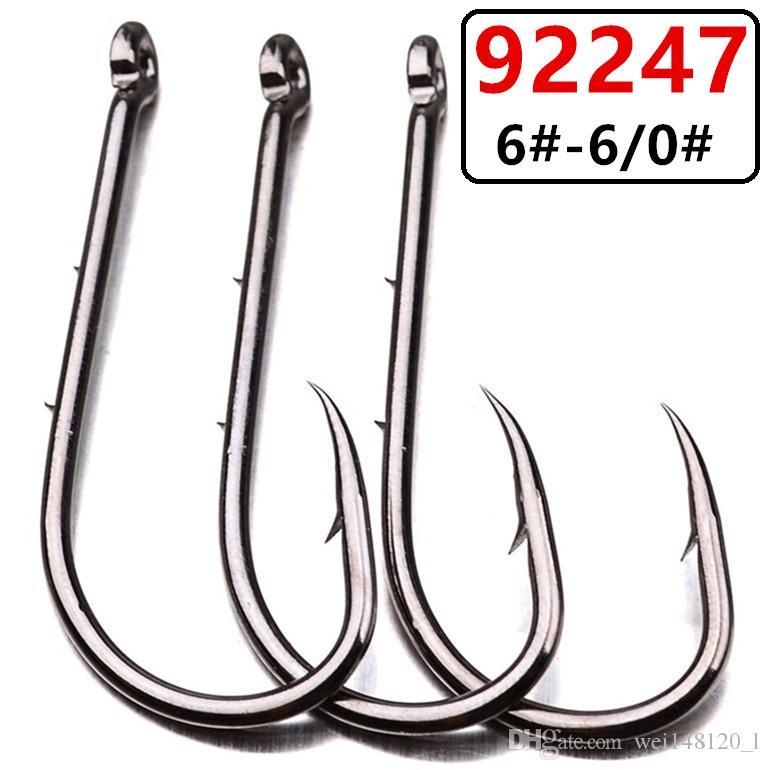 200pcs 6 # -6 / 0 # 92.247 Baitholder hook acciaio al carbonio spinato pesca Ganci ami da pesca Tackle e-026
