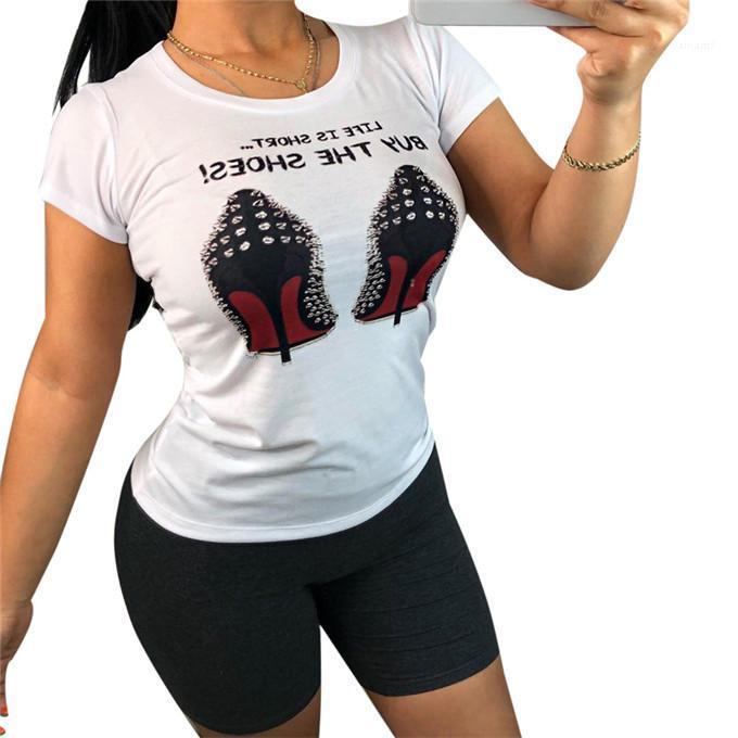 Casual Kız Seksi Tasarımcı Tees Ayakkabı Kısa Kollu Bayan tişörtleri Yaz O-Boyun Skinny Moda Bayan Tops yazdır