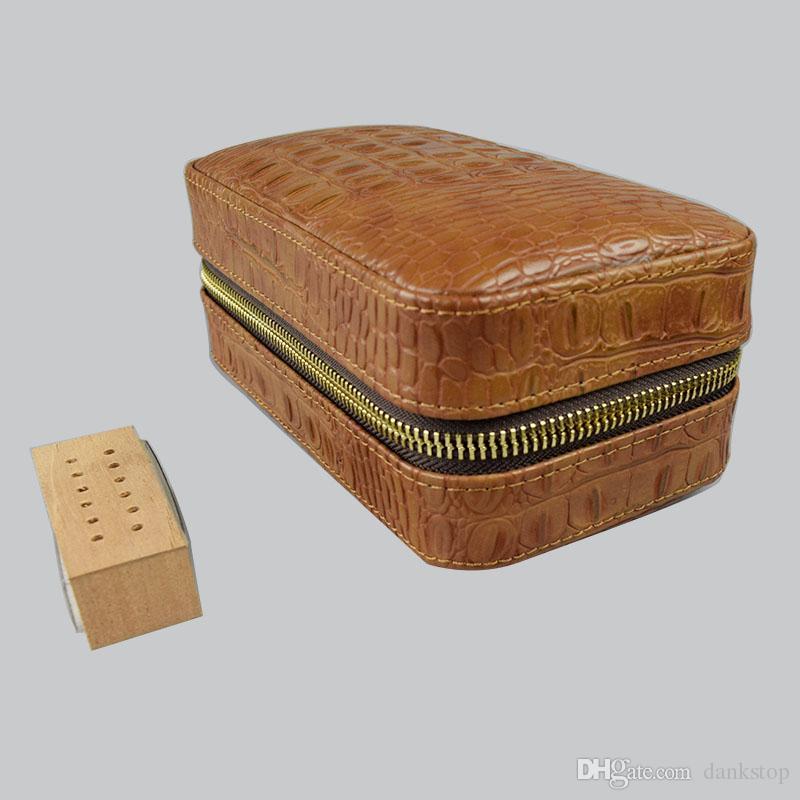 COHIBA Die Cigar-Grain-Leder Farbe Braun Krokodil Humidore / Fälle, Verwendung für das Rauchen, kann 6 Zigarette halten