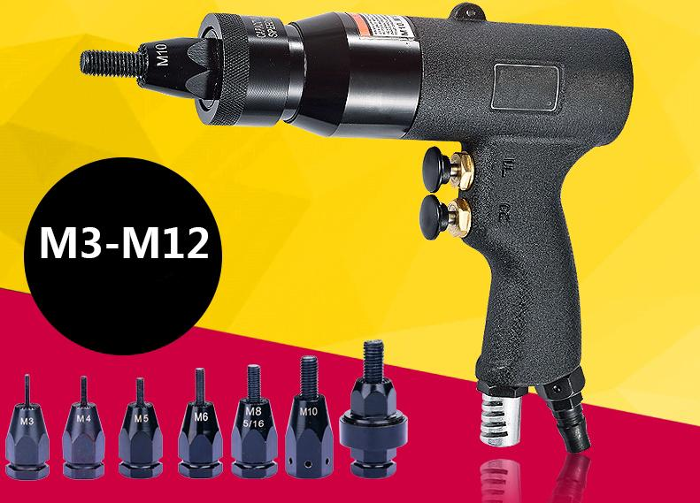 M3 ~ M12 pneumatique Riveteuse Pull Setter avec des têtes de fil autobloquants outils de traction Air Rivet Nut Gun