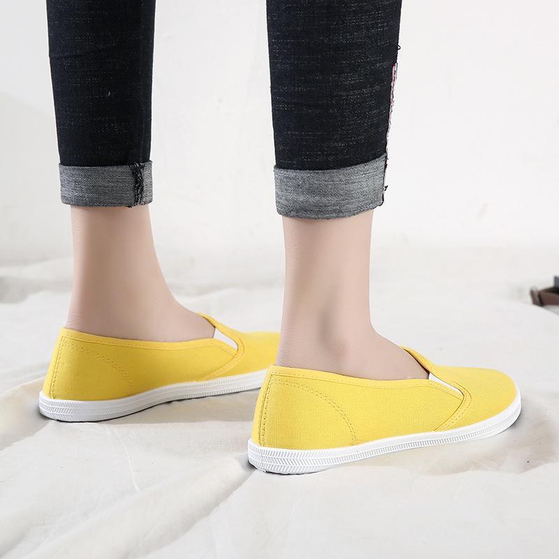 Plus Size 42 as sapatilhas das mulheres deslizamento em sapatas Mulher Flats Canvas Loafers doce cor calçados casuais Feminino Branco Sapatos zapatos mujer