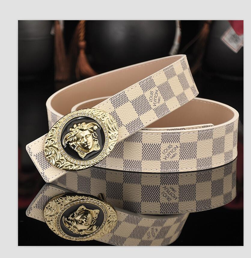 I progettisti nuova PU cintura uomo uomo di punta della moda uomo cintura di lusso per il tempo libero liscia cintura testa fibbia jolly del progettista