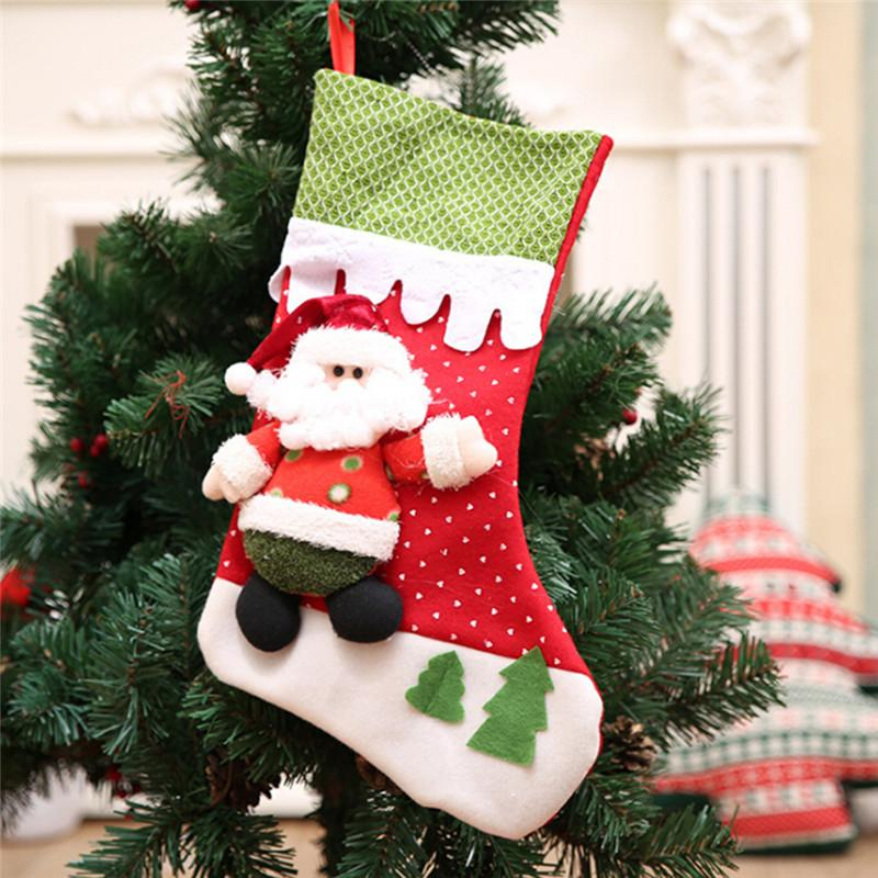 Christmas Santa Claus Snowman Stocking Candy Bags Xmas Socks Treat Gift Bags Pocket for Christmas Gift Party Decor IC897842