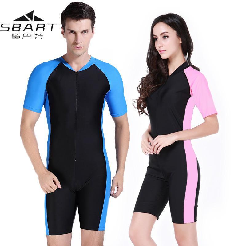Sbart Wetsuit Купальники Женщины Мужчины лайкры с коротким рукавом UV-доказательство Surf Серфинг Плавание Купальники Купальник Подводное плавание костюм Гидрокостюм C