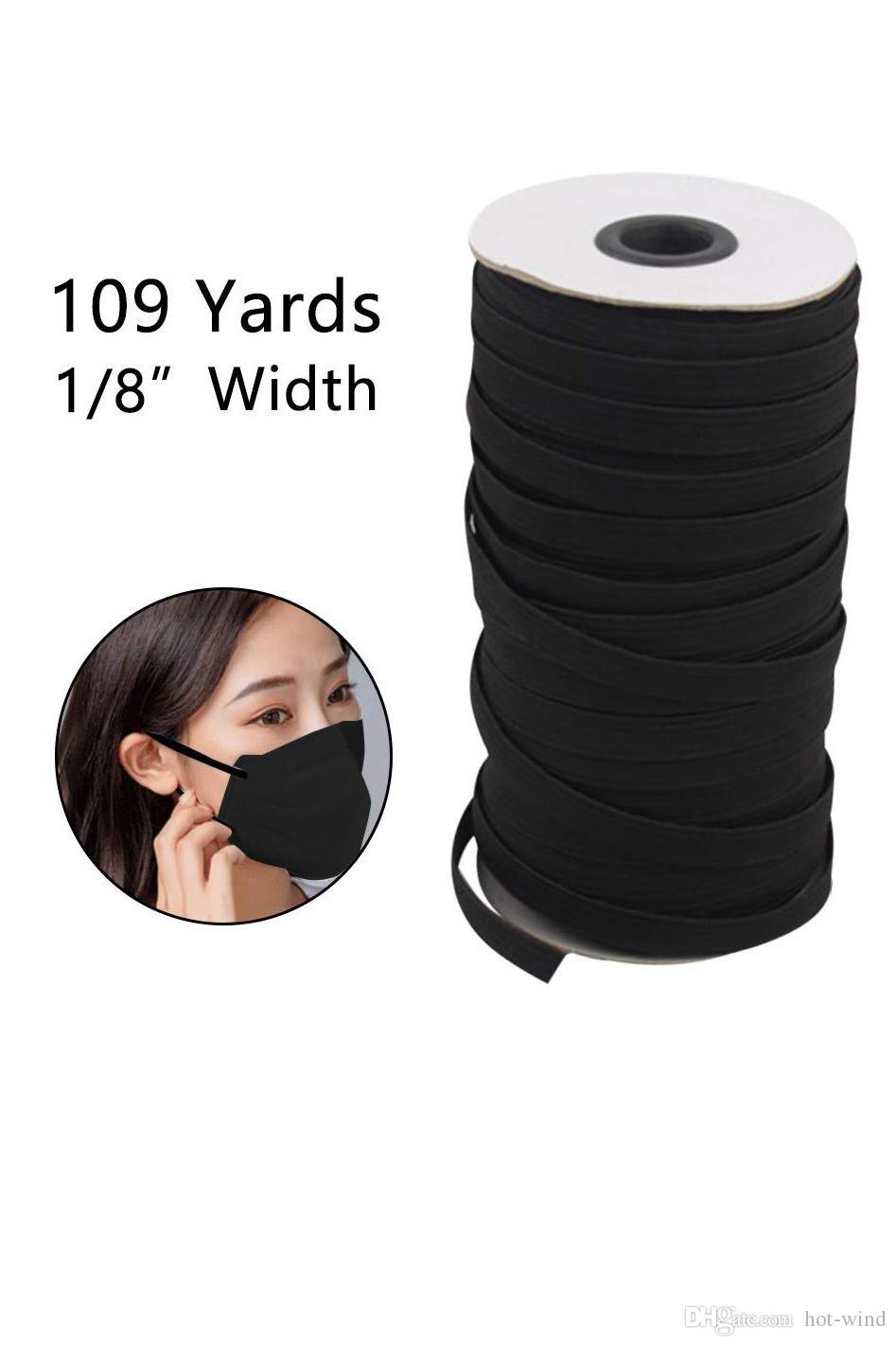 109 Longueur Casse bricolage tressé Bande élastique du cordon de bande de couture en tricot largement utilisés pour les masques 3 mm 4 mm 5 mm