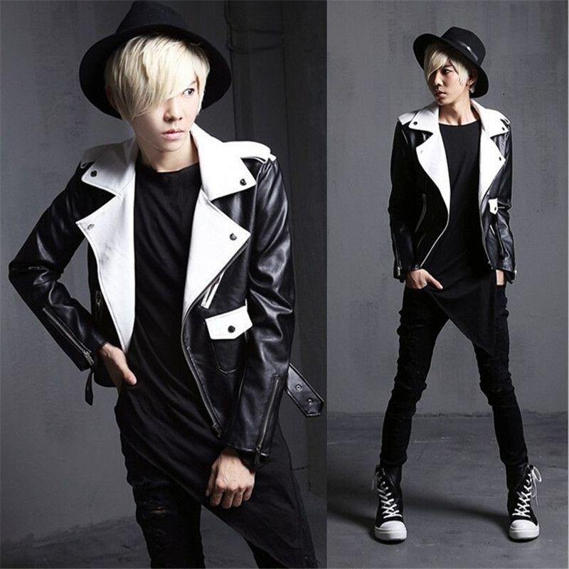 New Arrival Fashion Mens Punk Gothic Motor Leather Jacket Man Slim Fit Short Coat Outwear Black/white Biker Jackets