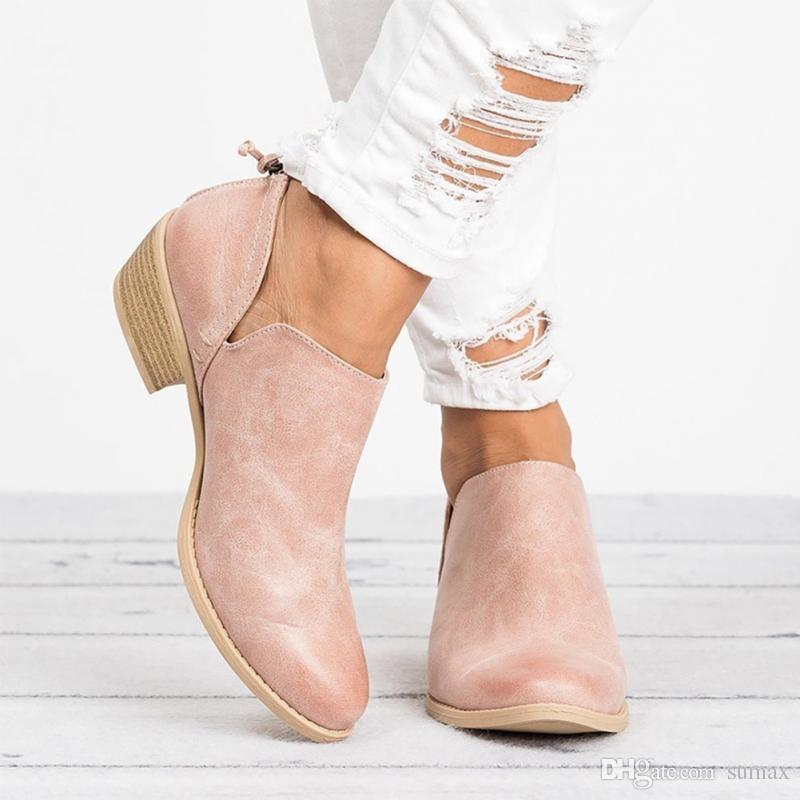 508b16f4d 2019 Primavera y otoño Botines de tacón medio ocasionales para mujeres  Zapatos antideslizantes puntiagudos de moda