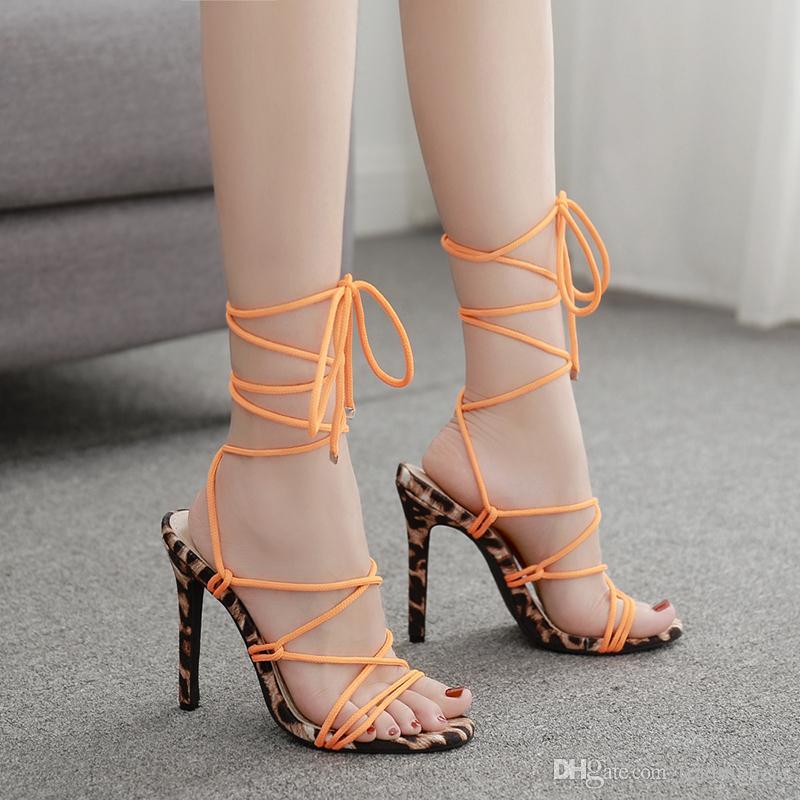 Size 35 To 42 Orange Leopard Mixed Color Strappy Lace Up Stiletto Gladiator Sandals Desigenr Shoes 11cm