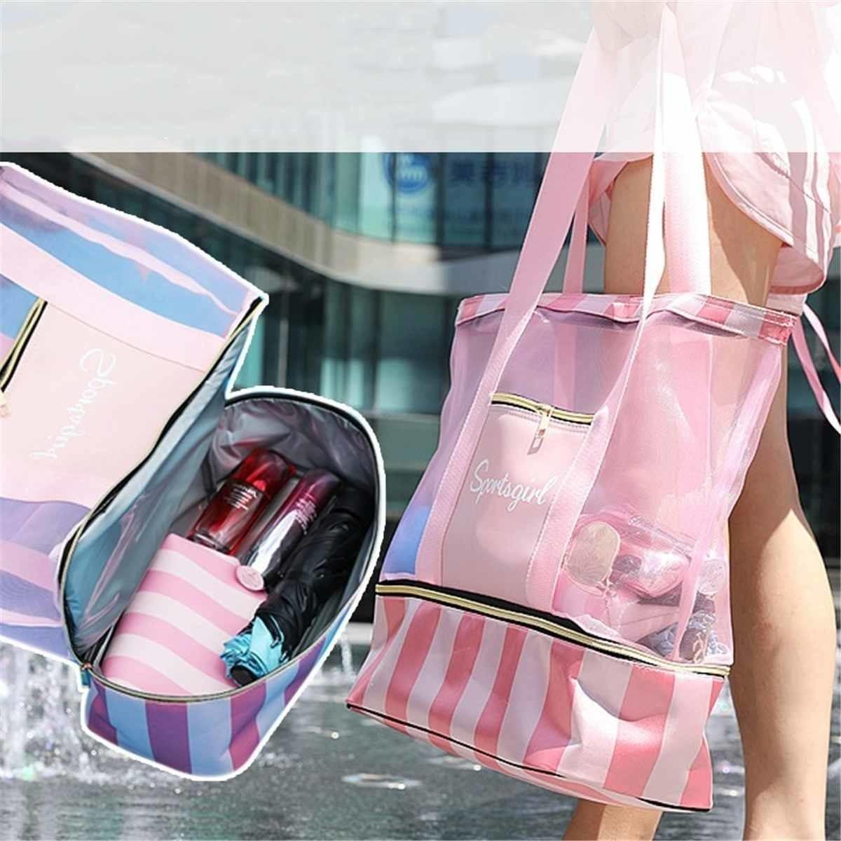 Waterproof Swimming Mesh Bag Beach Shoulder Bags Dry Wet Separate Handbags For Women Large Totes Handle Bag Yoga Storage Package Y190620