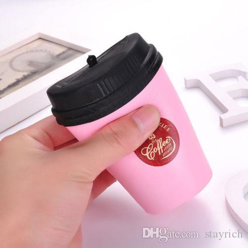 Cute Squishy Coffee Cup Slow Rising Jumbo Milk Pendant Soft Coffee Cup Model Kids Fun Decompression Toys