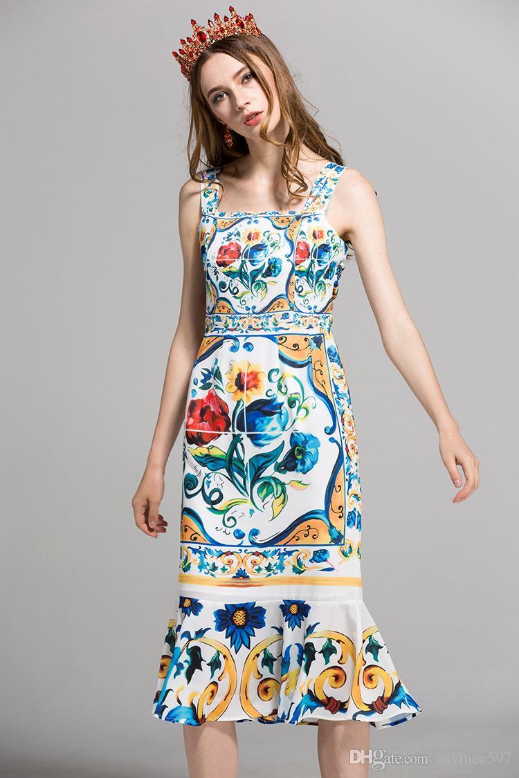 2020 Mode d'impression élégantes robes de femmes, Pretty Summer Beach Jupe fille, Nice Bas Robe trompette intérieure