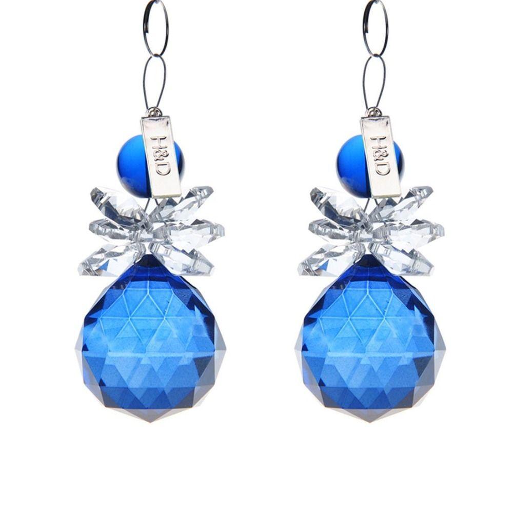 H&D 2PCS Crystal Chandelier Snowman Pendant Hanging Prism Suncatcher with Crystal Ball Cobalt Blue