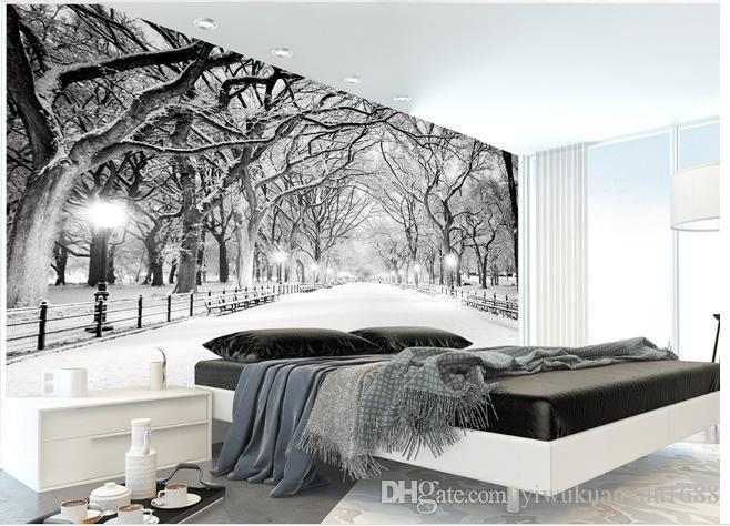 겨울 눈 풍경 나무 프리 배경 벽 3d 벽화 벽지 거실
