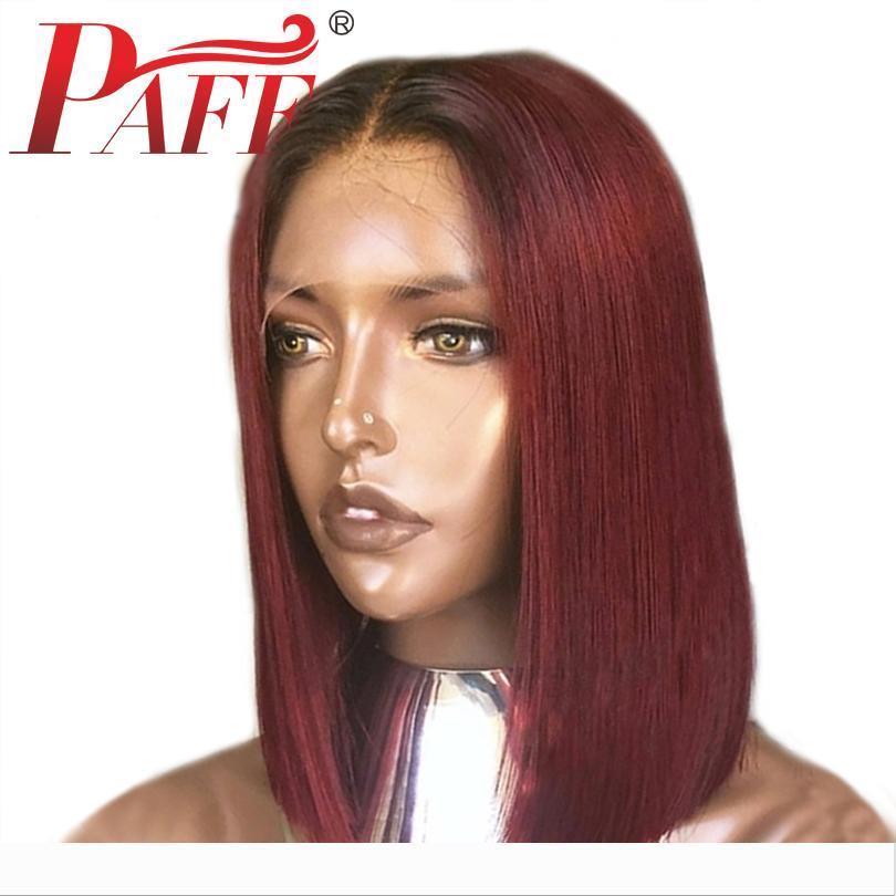 APAF Liso Curto Bob T1B Burgundy Ombre a cores 13 * 6 profunda dianteira do laço de Remy Cabelo Humano Perucas brasileira peruca de cabelo Pré-arrancada