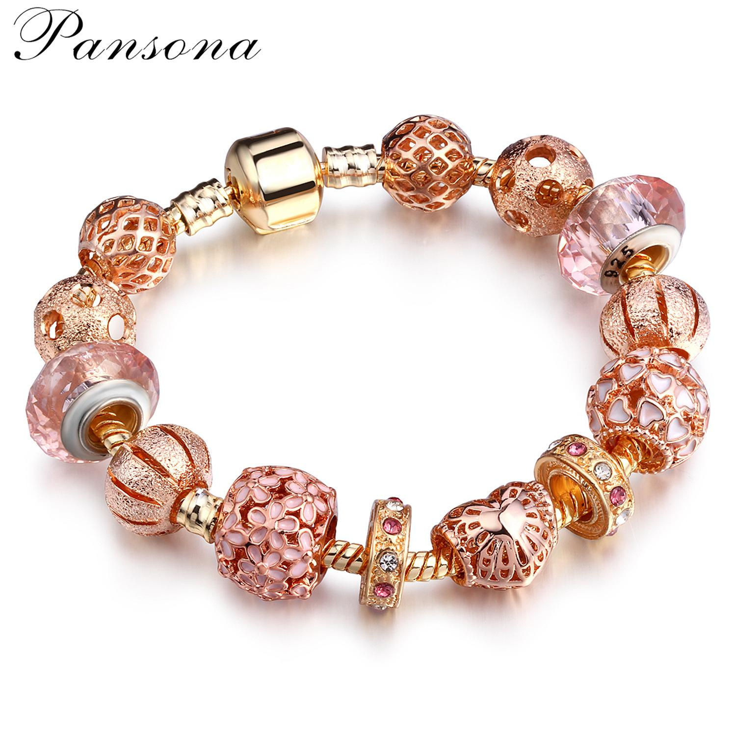 PD Womens Jewelry Rose Gold Alloy Glass Beaded Bracelet DIY Colored Bead Bracelet Cheap Mix Order AA83