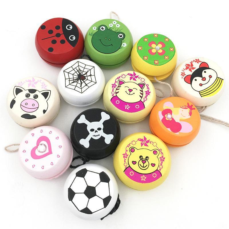 Mezclar 6 PC al por mayor imprime lindo animal de madera juguetes para niños mariquita Yo-Yo niños creativos bola del yoyo