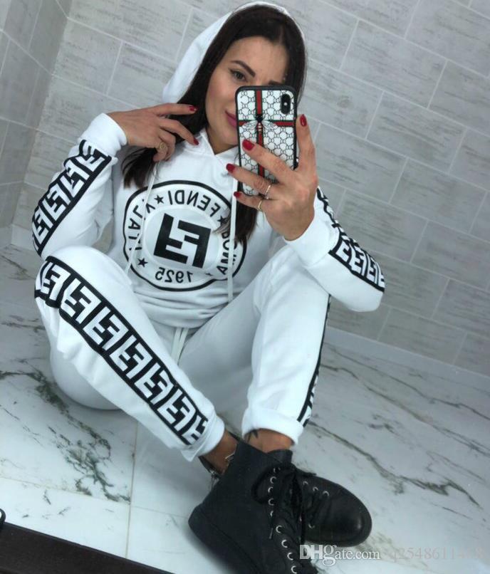 Kadınların fermuar rahat spor takım elbise baskılı mektup ceket hoodies ve pantolon iki parçanın kıyafetler Setleri eşofmanlar boyut S ~ XL pullove