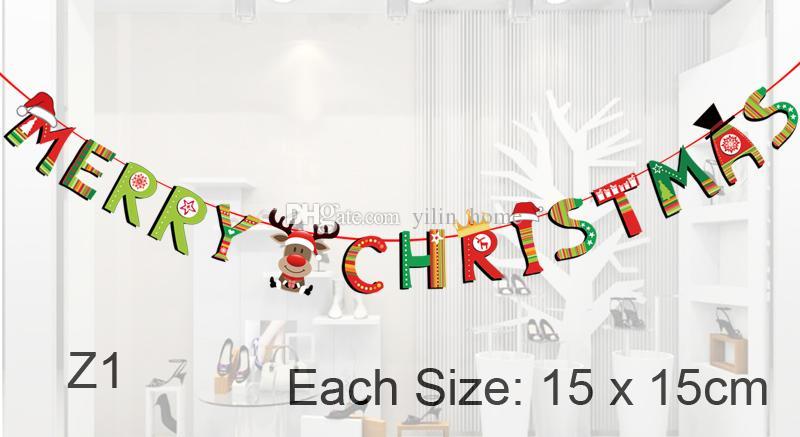 디디 크리스마스 플래그 파티 용품 다채로운 배너 산타 클로스와 함께 메리 크리스마스 멧새 눈사람 크리스마스 장식