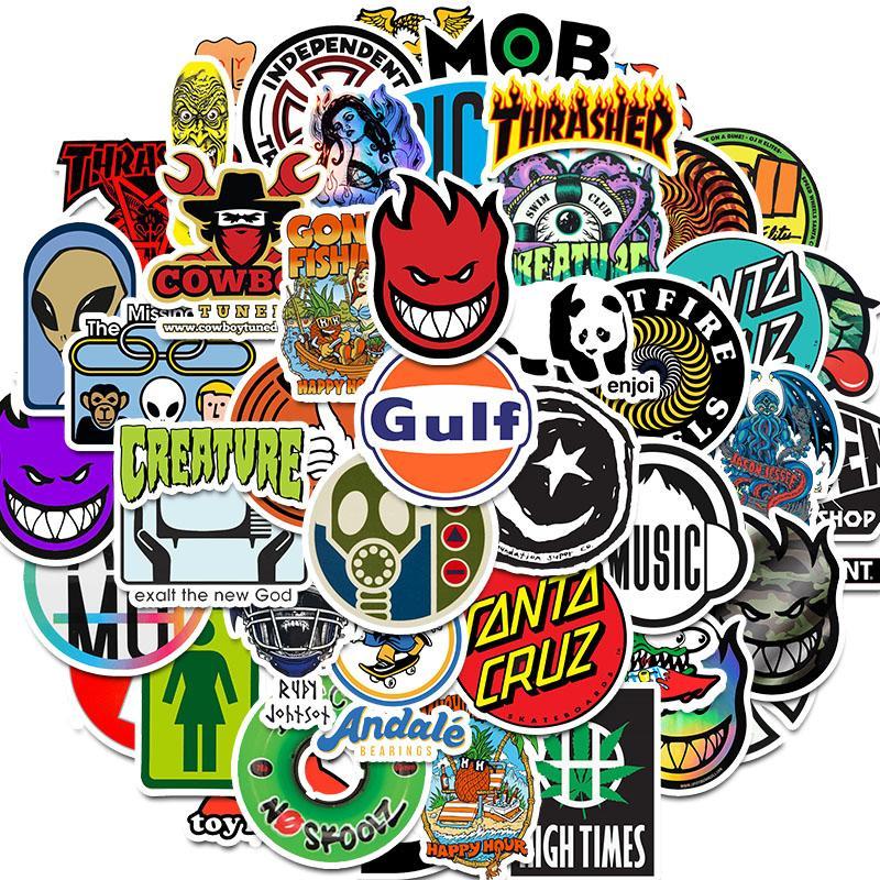 50 adet Kaykay Moda marka Logo Su geçirmez Sticker için Bagaj Arabası Guaitar Kaykay Telefon Laptop Bisiklet Moto Çıkartma