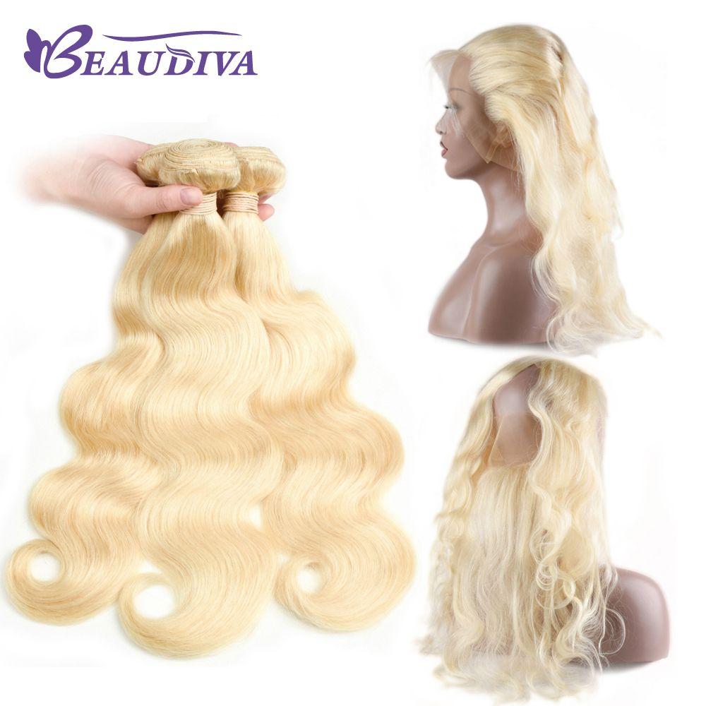 Fasci Beadu Diva 613 con 360 fasci biondi di onda frontale del corpo frontale con fasci di capelli vergini brasiliani frontali in pizzo con chiusura
