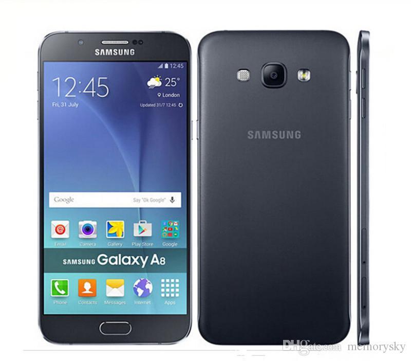 Оригинальный Samsung Galaxy A8 A8000 5.7 '' Octa Core 16.0MP Камера Android 5.1 2 ГБ RAM 16 ГБ ROM Восстановленное сотовый телефон