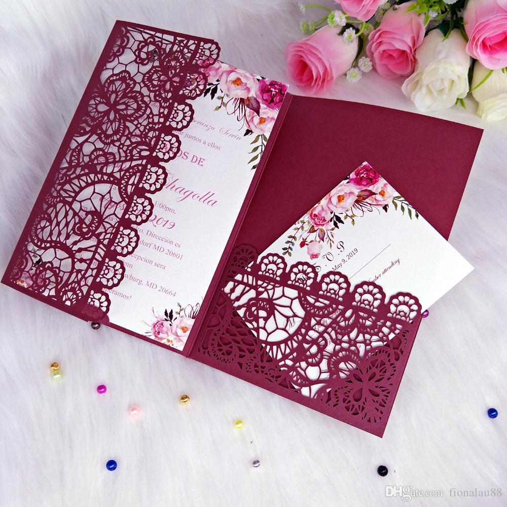 Invitación de la impresión del cordón de Borgoña bolsillo invitaciones de la boda Plantilla modificada para tarjeta de la ducha nupcial dulce 15 fiesta de cumpleaños