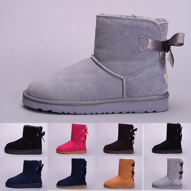 nouvelle 2019 hiver Australie classique bottes de neige bonne mode WGG hautes bottes en cuir véritable Bailey bowknot bailey bow femme au genou chaussures # 1