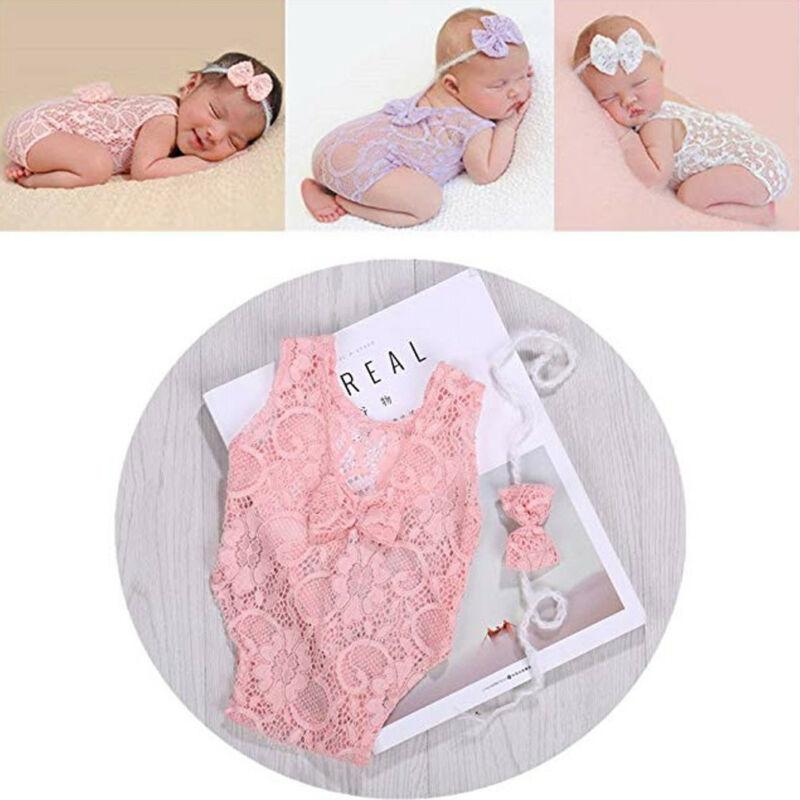 Newborn Lace Jumpsuit Baby Girls Boys Angel Wings Costume Photo Photography Prop Outfits