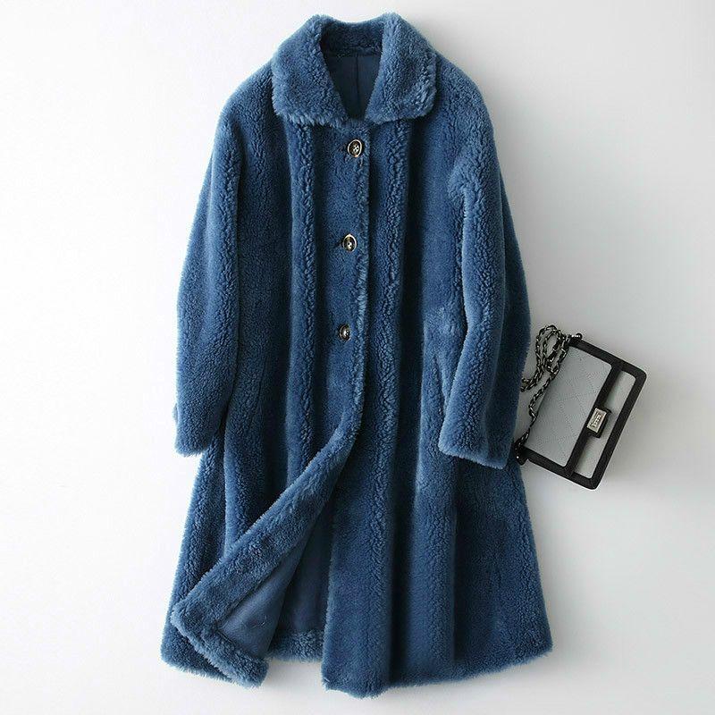 Gerçek Kürk% 100 Yün Ceket Sonbahar Kış Kaban Kadınlar Giyim 2020 Kore Vintage Koyun shearlıng Süet Kaplama ZT3778 Tops