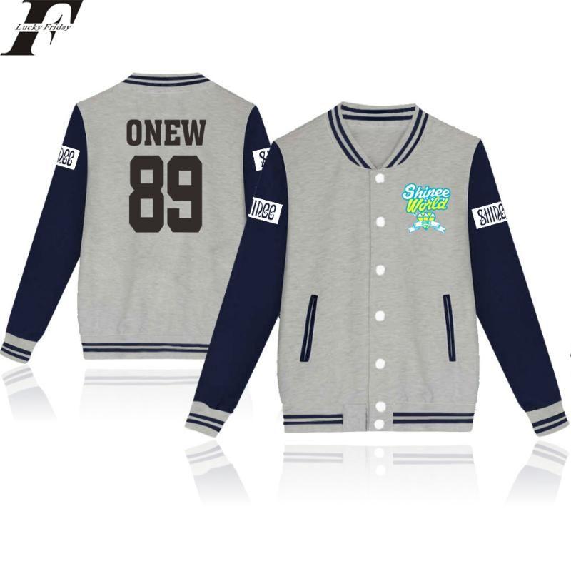 Outwear LUCKYFRIFAYF 2017 SHINee Jonghyun R.I.P Kpop Baseball Jacket Женщины / Мужчины Outwear пальто Kpop Зимняя куртка Женщины Streetwear