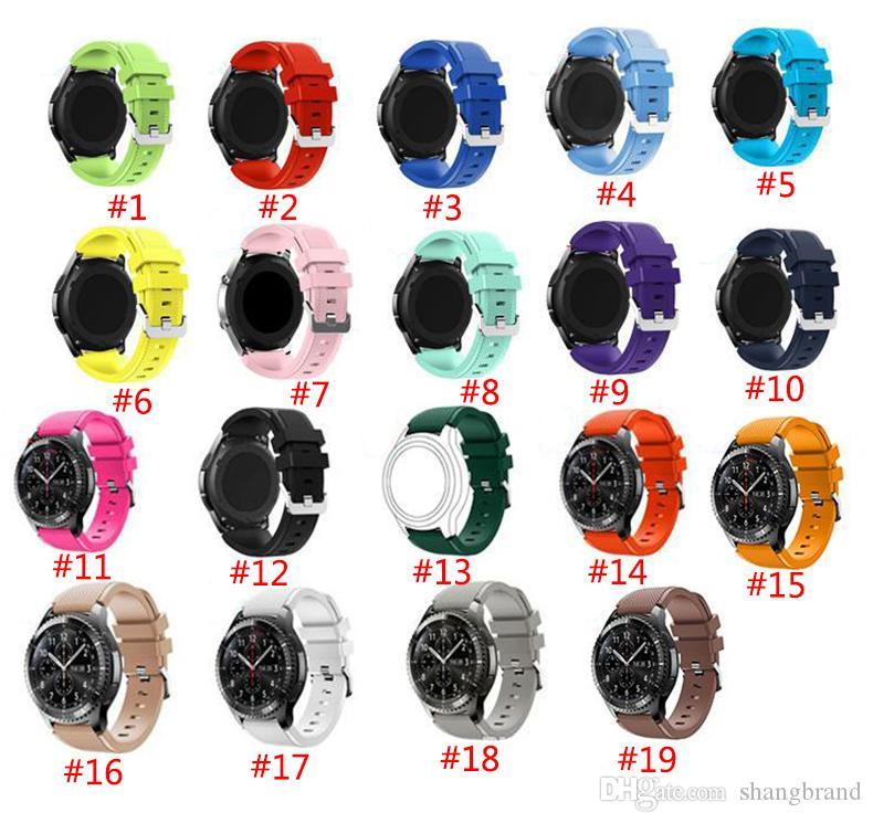 Samsung Gear S3 R760 için Dişli S3 Klasik Frontier 22mm İzle Band Kayışı Yedek Bilezik 19 Renkler Silikon Watchband