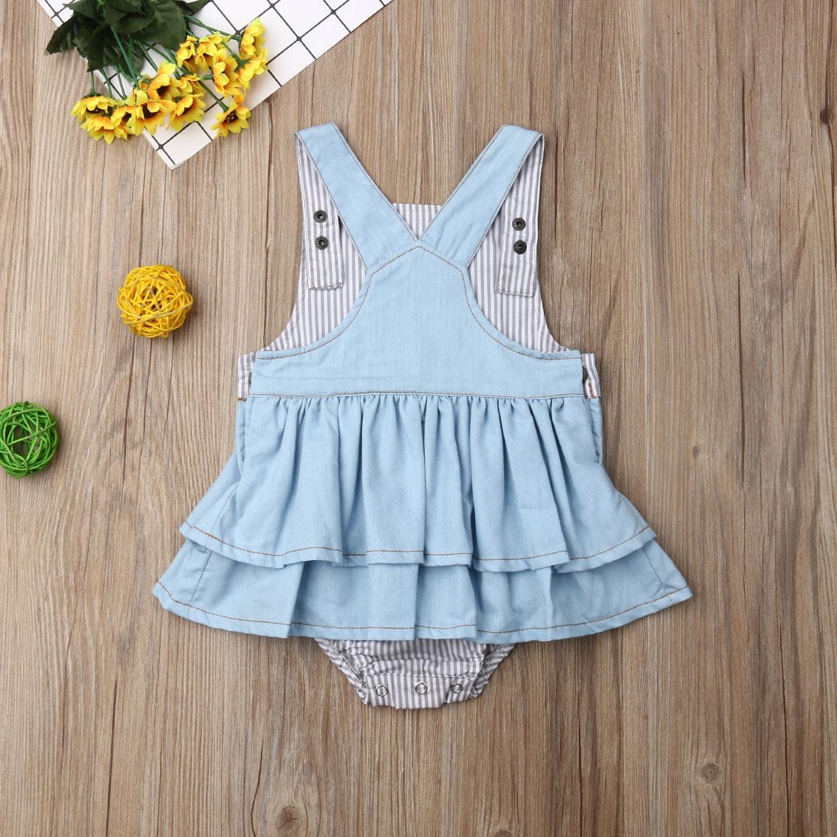 Pudcoco ABD Stok Yenidoğan Çocuk Kız bebekler 1-4T Romper Katı Patchwork Yaz Suspender Denim Romper Jumpsuit Kıyafetler