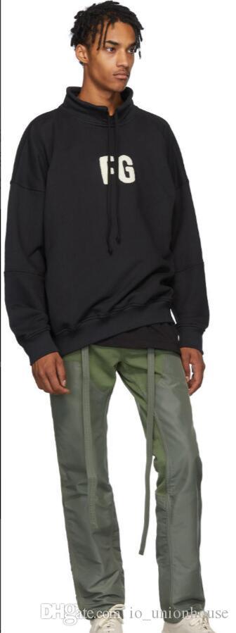 Lange Hoodie Angst FG GOTT Mode Pullover Kragen Ständer von Sweatshirt High 19ss Casual Street Sleeve Pullover Stickerei Street Nebel IDHXC