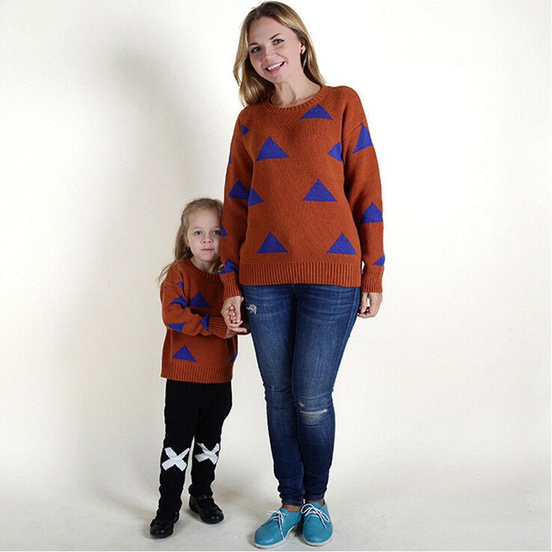 New Style Mère fille Vêtements assortis SweatersPullovers à tricoter Hauts filles Pull femme