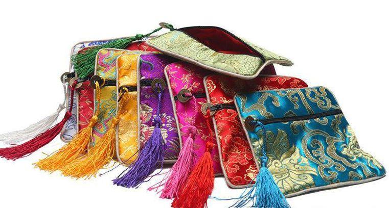 고품질 광장 중국 실크 얼룩 혼합 12colors 쥬얼리 디스플레이 포장 주머니 지퍼 웨딩 파티 부탁 선물 가방