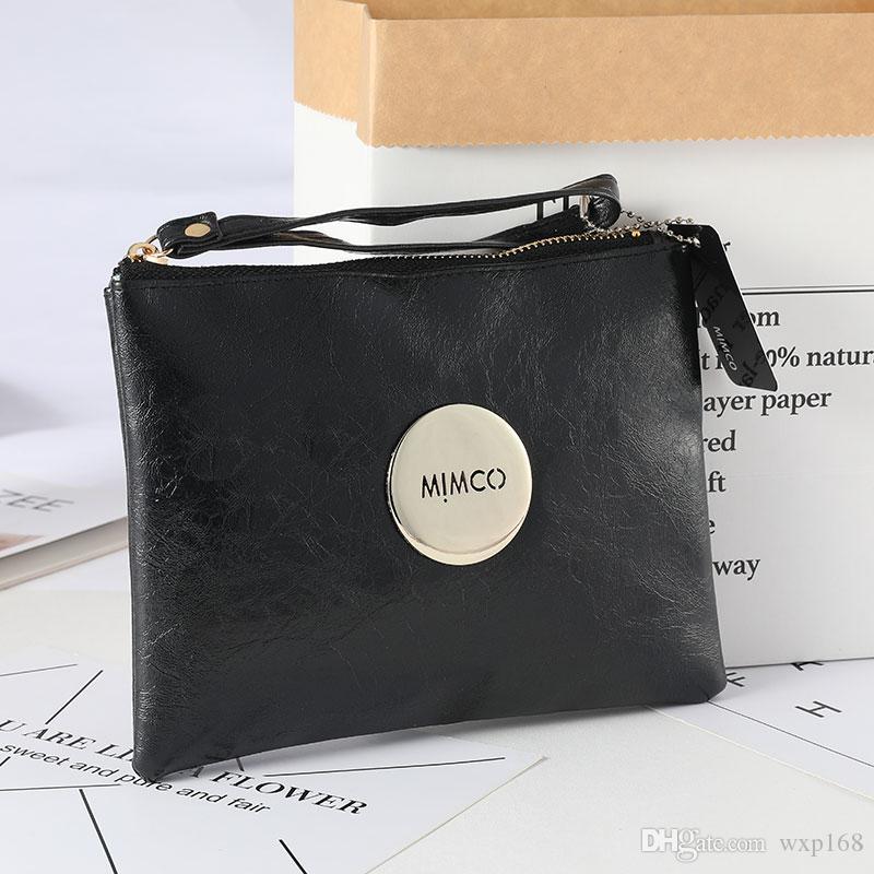 Beige Fucsia Khaki Nero Bianco medio custodia borsa di corsa donne elegante frizione portafoglio colore dorato del distintivo del metallo morbido PU borsa in pelle signore