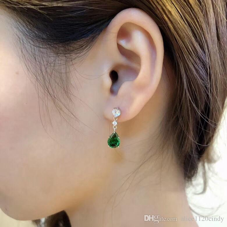 Classic Style Silver Plated Tear Drop Crystal Womens Drop Dangle Piercd Earrings
