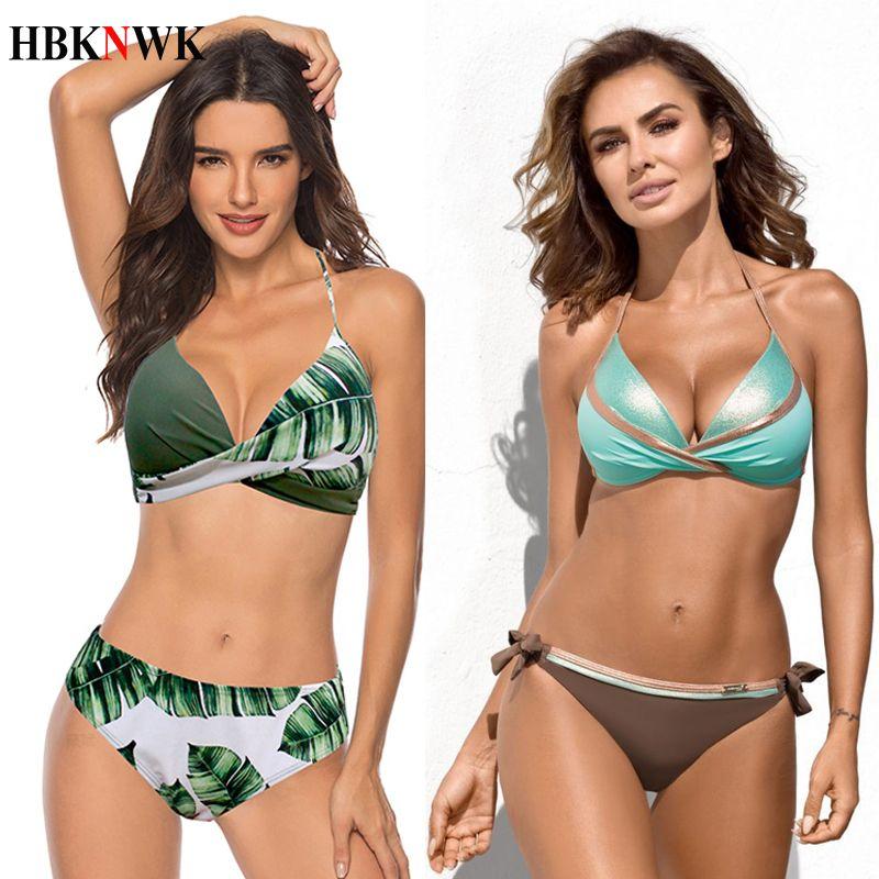 Sexy Bikinis Push Up Swimsuits Print Swimwear Women Halter Bandage biquini Swim Suit 2020 Bathing Suit Plus Size Bikini Set XXXL