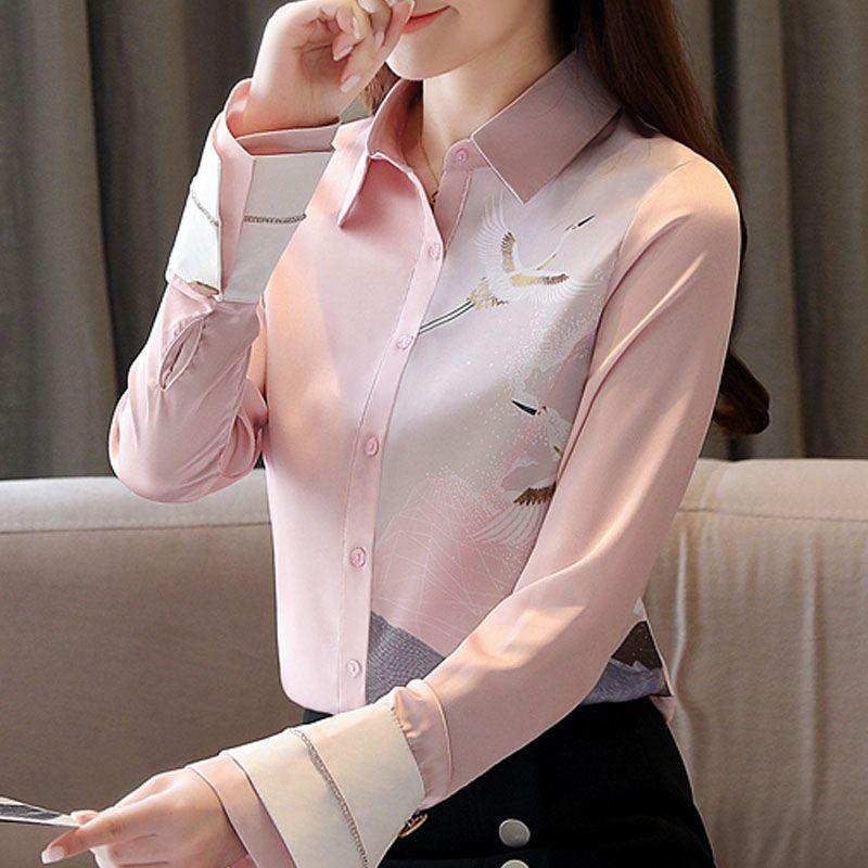 Moda Kadın Bluzlar 2020 Turn Aşağı Yaka Bluz Kadınlar Uzun Kollu Baskı Şifon Bluz Gömlek Kadın Giysileri Blusas C976 Tops