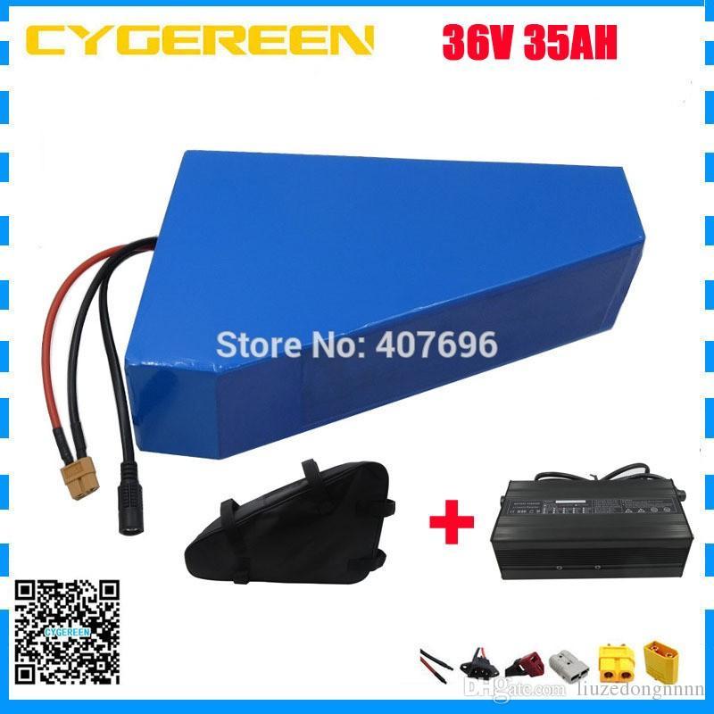 EU US keine steuer 1500W 36V dreieck batterie 36 V 35AH elektrische fahrradbatterie mit freiem beutel verwenden samsung 3500 mah zelle 50A BMS 5A ladegerät