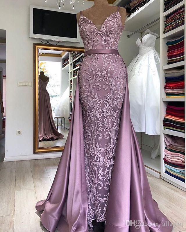 V-neck formal Prom dress New Sirene Spaghetti Strap Detachable Tail Mermaid Long Evening Gowns Lace Robe Longue Robe De Soiree