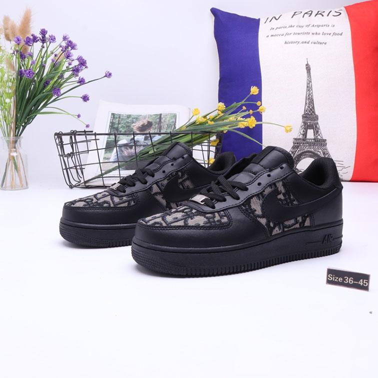 NIKE Air Force 1 x Dior 2020 جديد رجل إمرأة قطع أدنى واحد 1 أحذية عارضة أبيض أسود دونك الرياضة سكيت أحذية الكلاسيكية الاحذية حذاء حذاء رياضة الهواء