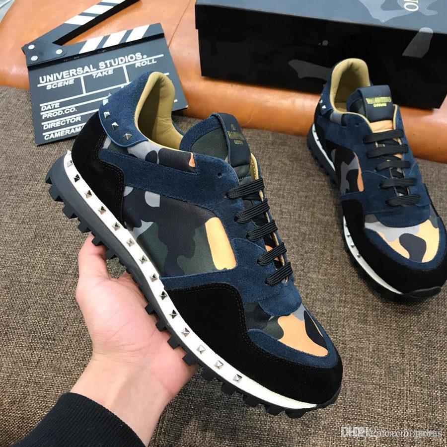 20sVALENTINOS GARAVANIss mens 20Designer-Schuhe Camo Rockrunner Leder Turnschuhe Freizeitschuhe Größe Eur 38-45